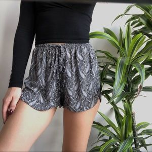 Blue and purple paisley shorts
